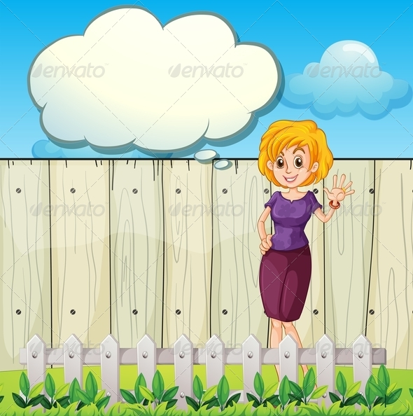GraphicRiver Mother Standing Near a Wooden Fence 7977554