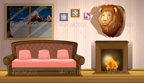 GraphicRiver Room with a Lion Wall Decor 7977572