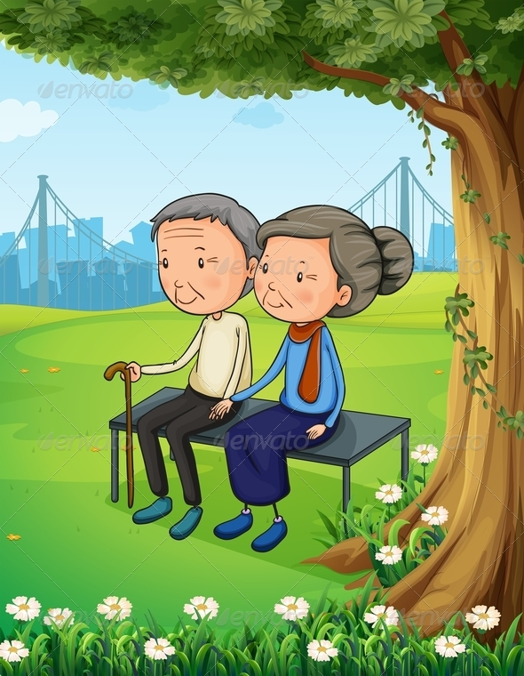 GraphicRiver Old Couple at the Park 7977597