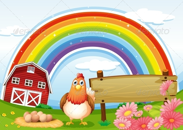 GraphicRiver Hen at the Farm with a Rainbow and Sign 7977665