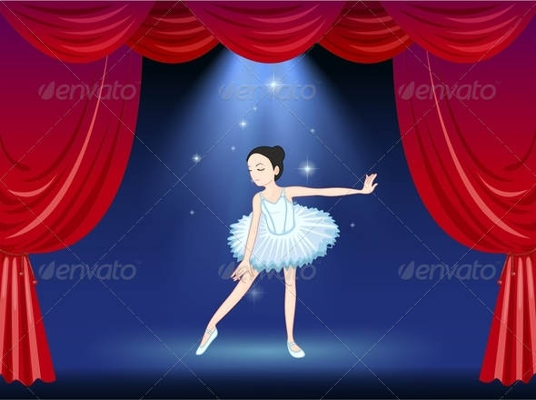 GraphicRiver Ballerina Dancing on a Stage 7977789