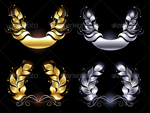 GraphicRiver Gold and Silver Laurel Wreaths 7978126