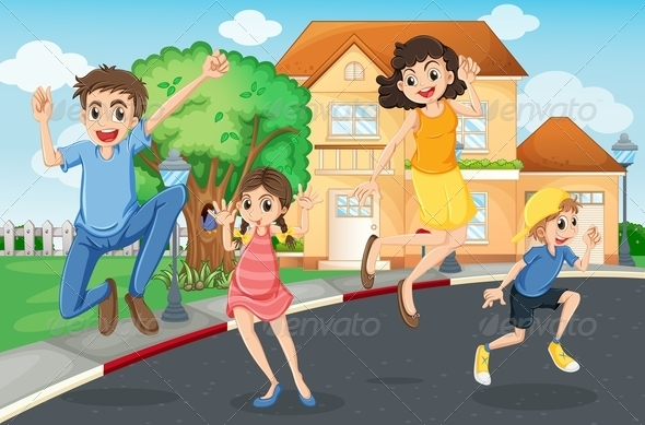 GraphicRiver Happy Family Jumping in the Street 7978133