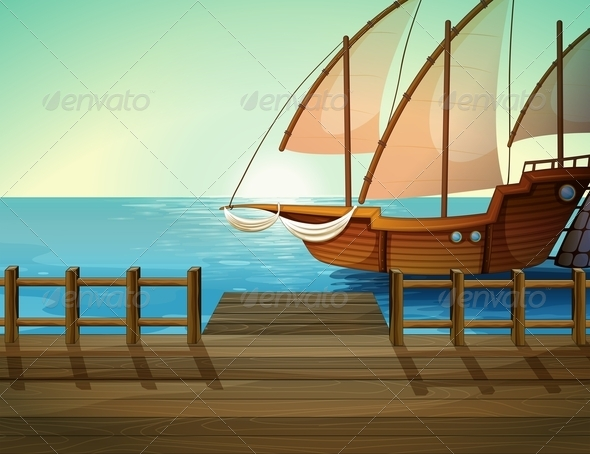 GraphicRiver Ship near Seaport 7978405