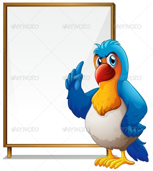 Parrot in Front of an Empty Signboard