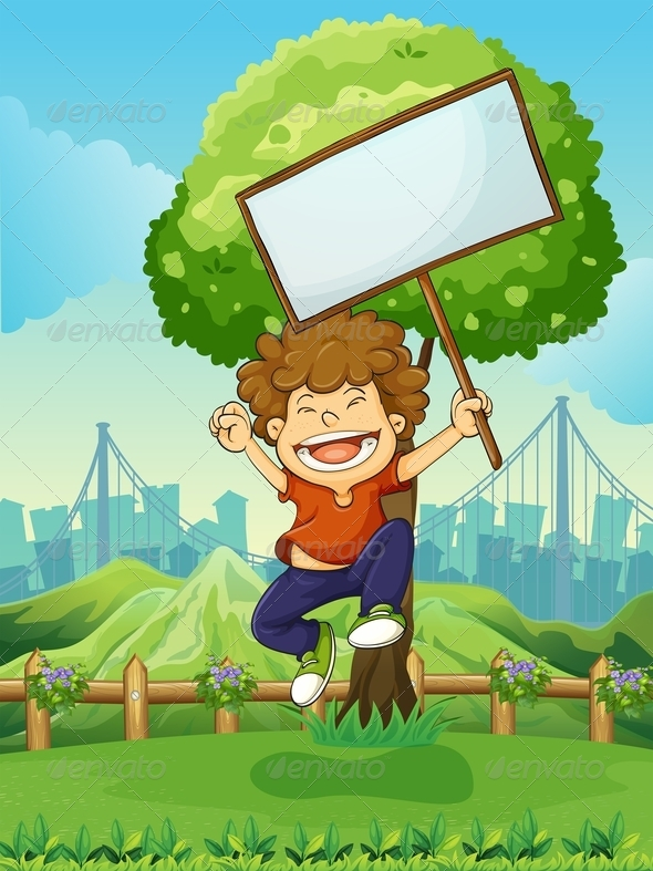 GraphicRiver Happy Boy Jumping While Holding an Empty Sign 7978642