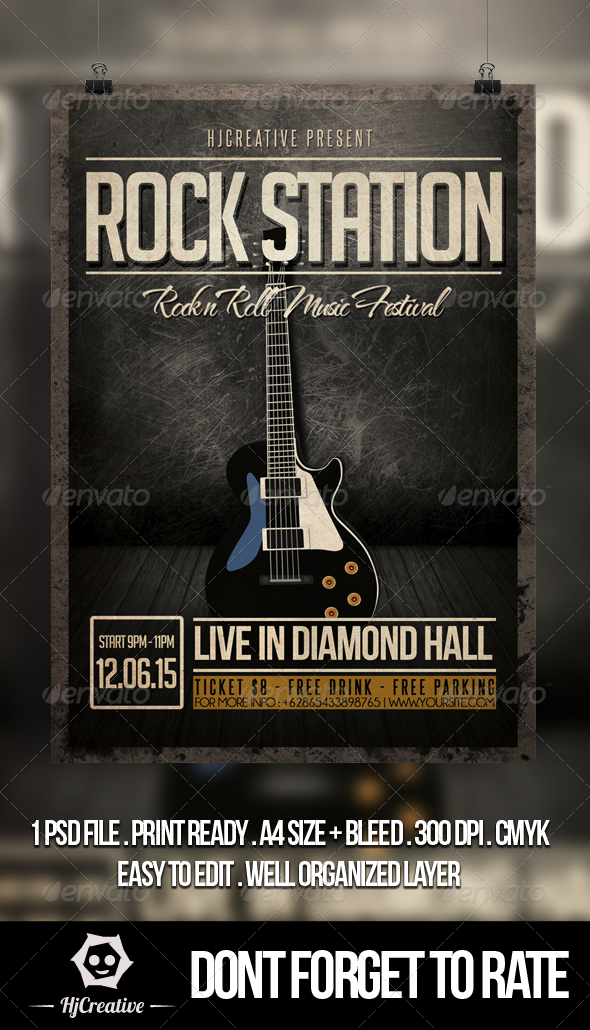 Rock Station Poster Flyer Template