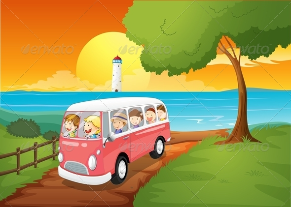 GraphicRiver A Pink Schoolbus Travelling 7978929