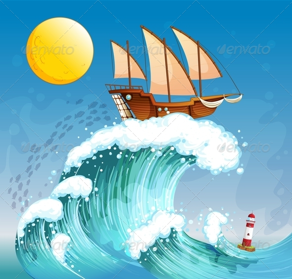 GraphicRiver A Ship Above Giant Waves 7979104