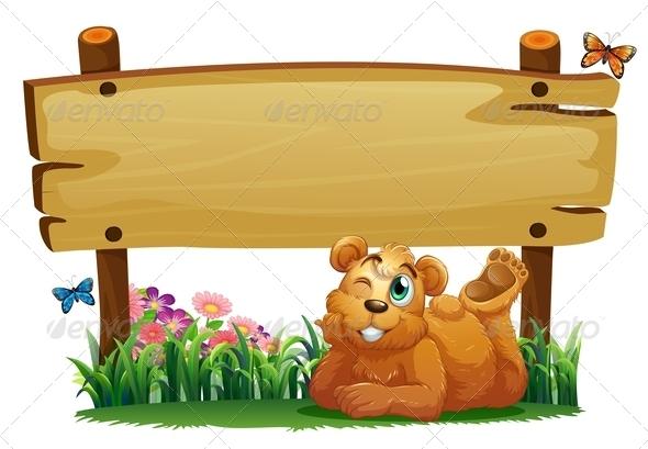 Bear under Wooden Board