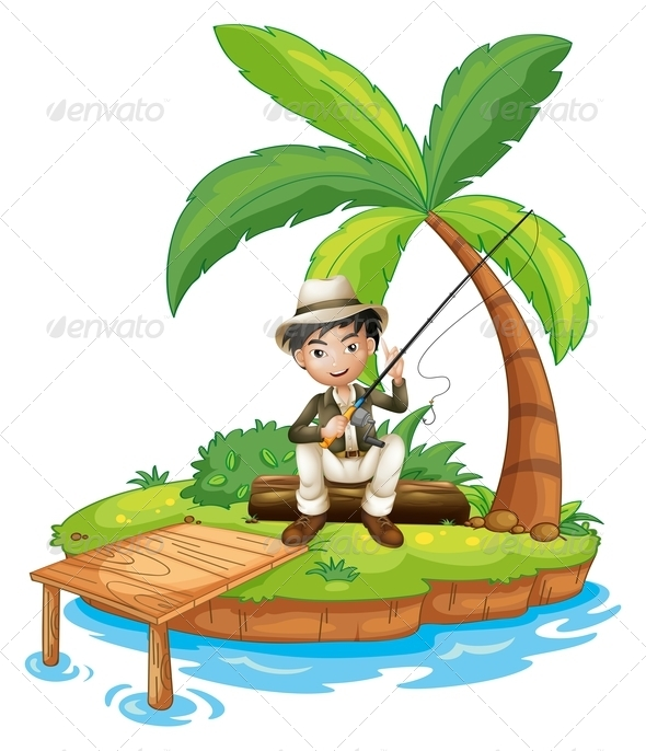 GraphicRiver Man Fishing on Island 7979550