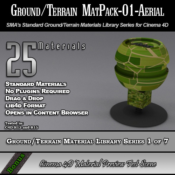 Standard Ground/Terrain MatPack-01-Aerial for C4D - 3DOcean Item for Sale