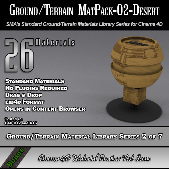 Standard Ground/Terrain MatPack-02-Desert for C4D - 3DOcean Item for Sale