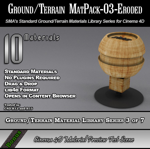 Standard Ground/Terrain MatPack-03-Eroded for C4D - 3DOcean Item for Sale