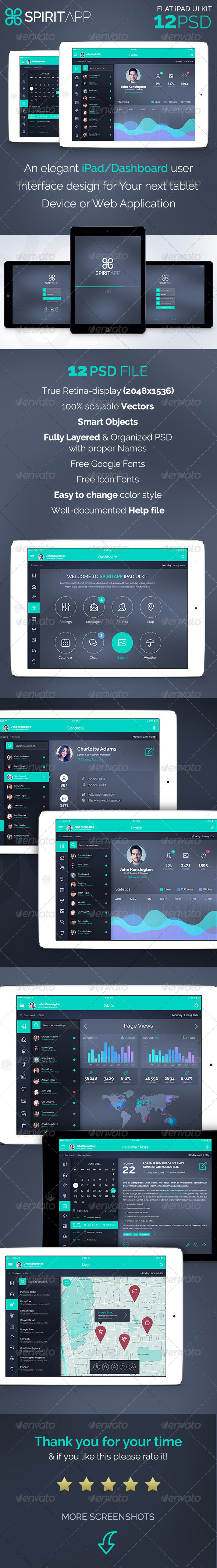 GraphicRiver SpiritApp Flat iPad App UI Kit 7979770