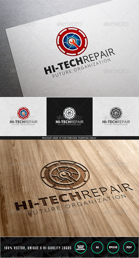 Hi-Tech Repair Logo Template - Objects Logo Templates