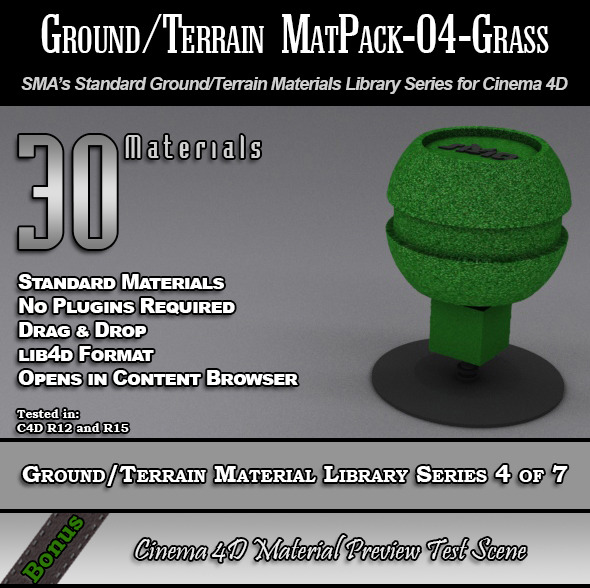 Standard Ground/Terrain MatPack-04-Grass for C4D - 3DOcean Item for Sale