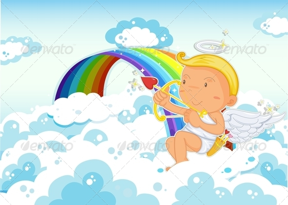 GraphicRiver Cupid beside Rainbow 7979811