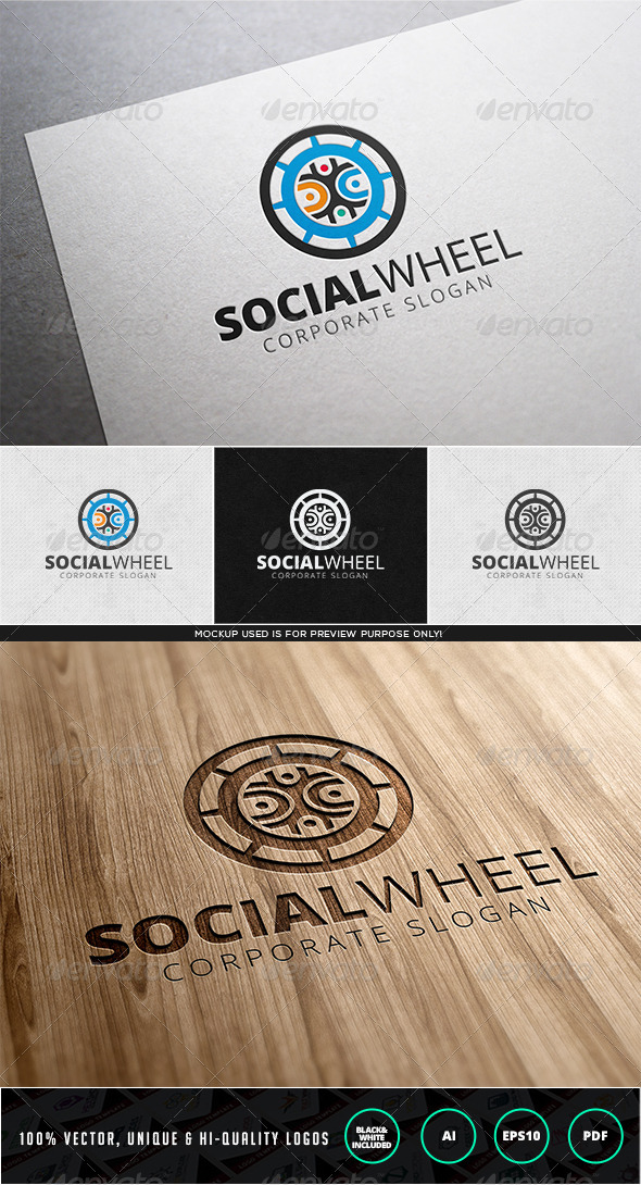 Social Wheel Logo Template - Humans Logo Templates
