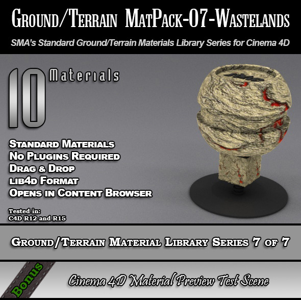 Standard Ground/Terrain MatPack-07-Wasteland [C4D] - 3DOcean Item for Sale