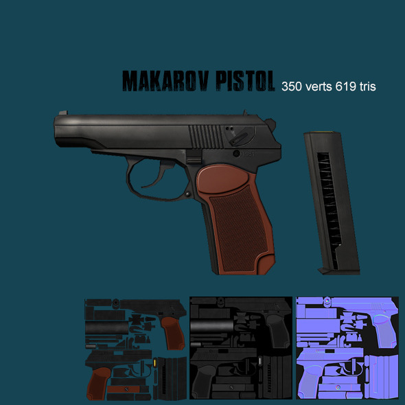 Low poly makarov pistol