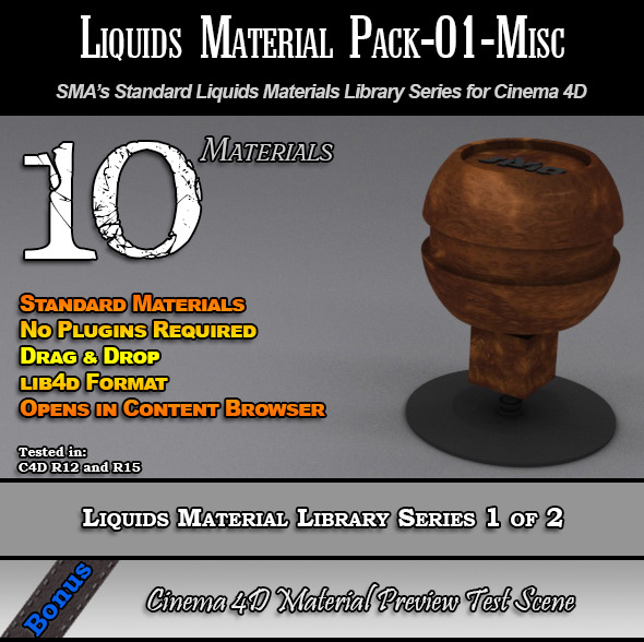 Standard Liquids Material Pack-01-Misc for C4D - 3DOcean Item for Sale