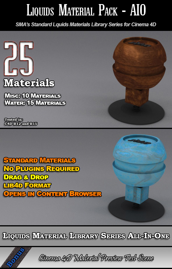 25 Standard Liquids Materials Pack AIO for C4D - 3DOcean Item for Sale