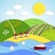 Vector Landscape of Sea Sun and Green Hills - GraphicRiver Item for Sale