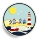 Seascape with Lighthouse and Ships Badge - GraphicRiver Item for Sale