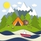 Picnic on the Shore of a Mountain Lake - GraphicRiver Item for Sale
