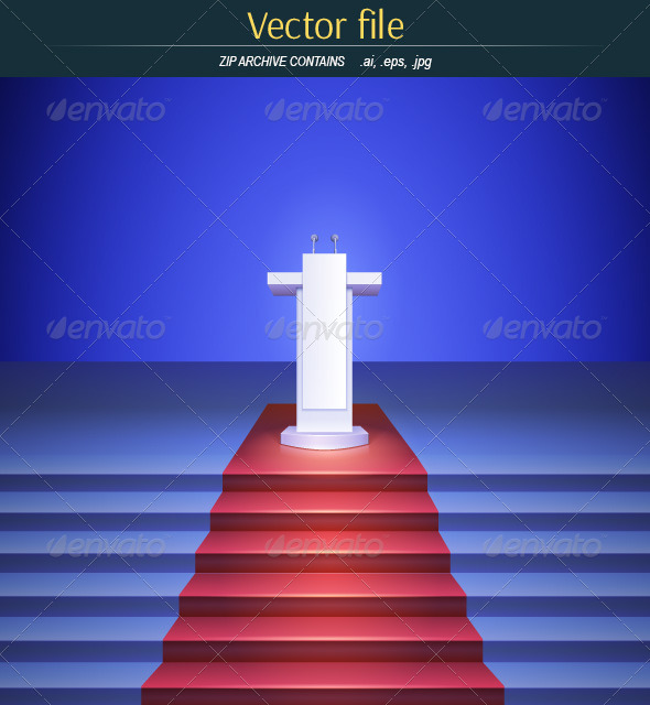 GraphicRiver Scene with Tribune and Stairs Covered Red Carpet 7980204