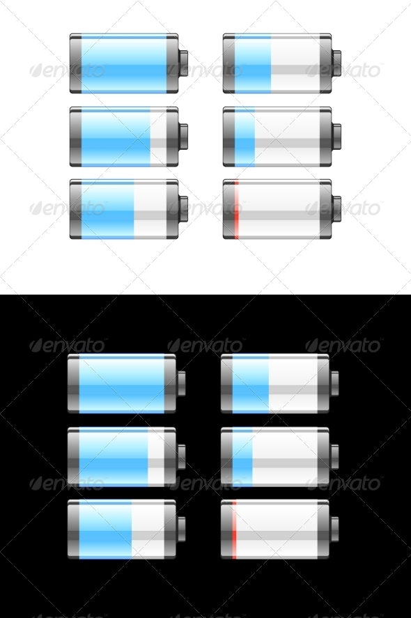 GraphicRiver Set of Batteries or Cells Showing Charge 7980209