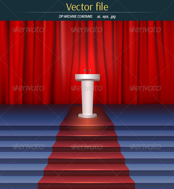 GraphicRiver Scene with Curtain Tribune and Stairs 7980222