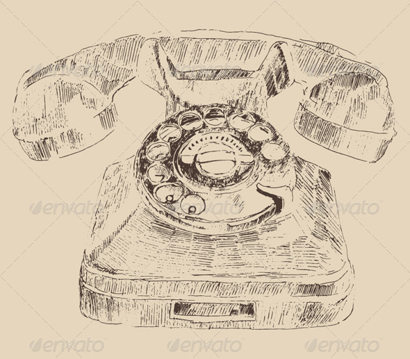 Retro Telephone Vintage Illustration Engraving