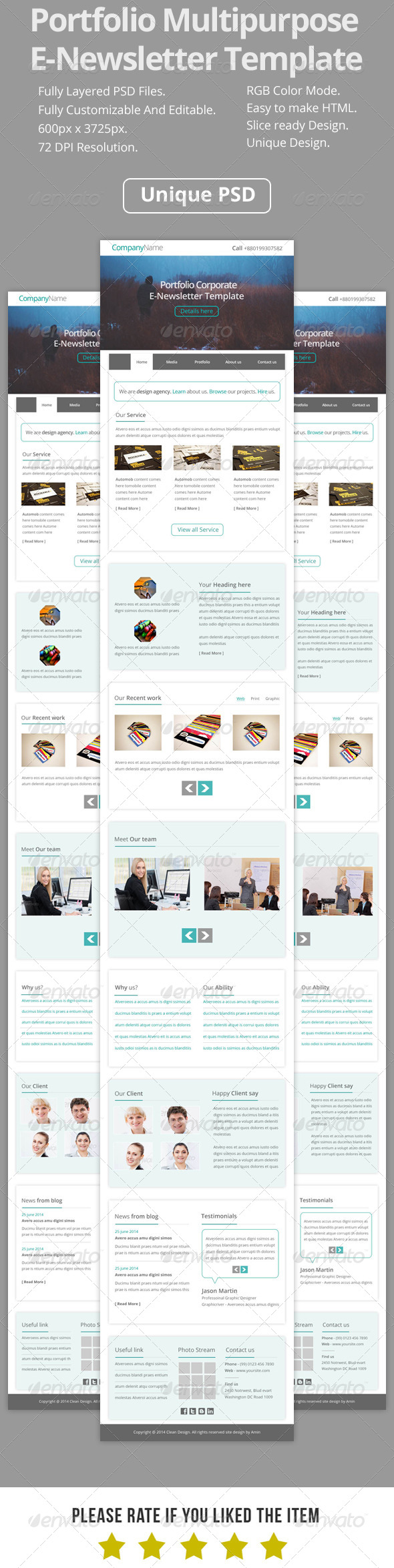 GraphicRiver Portfolio Multipurpose E-Newsletter Template V7 7981309