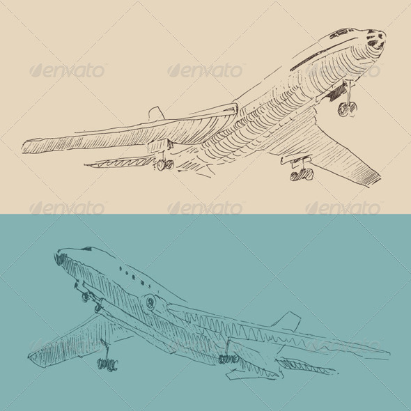 GraphicRiver Airplane Vintage Illustration Engraved Retro Style 7981327