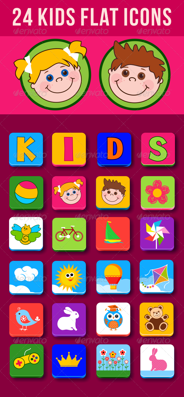GraphicRiver 24 Kids Flat Icons 7981355