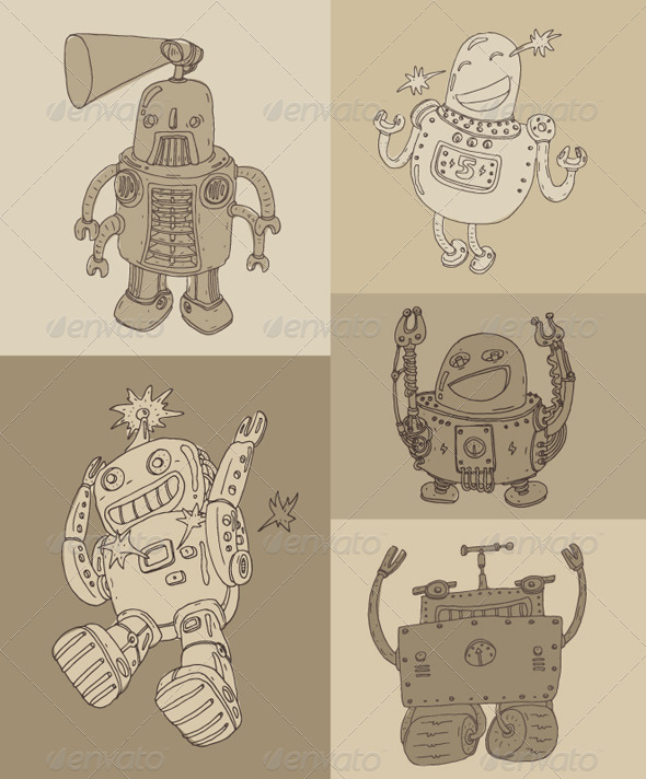 GraphicRiver Cute Robot Set Robot Toy Icon Vector Illustration 7981390