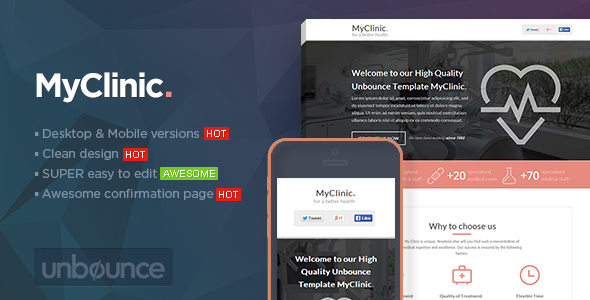 MyClinic - Medical Unbounce Template - Unbounce Landing Pages Marketing