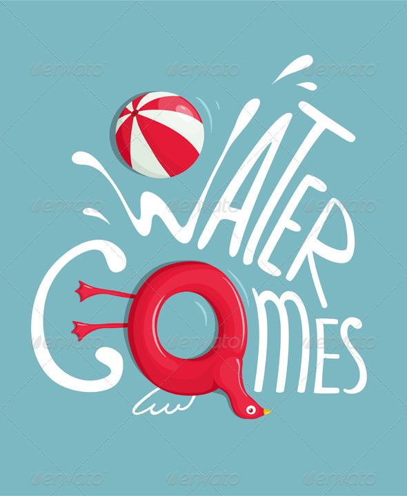 GraphicRiver Water Games with Inflatables Lettering Poster 7981700