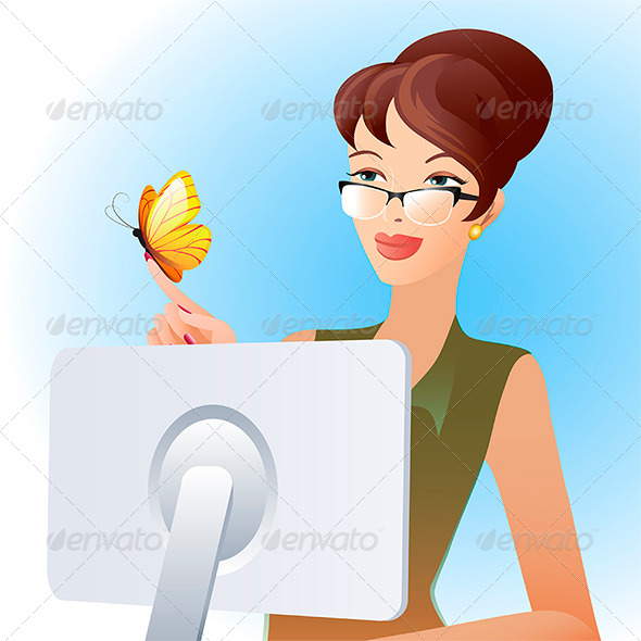 GraphicRiver Secretary and Butterfly 7982085