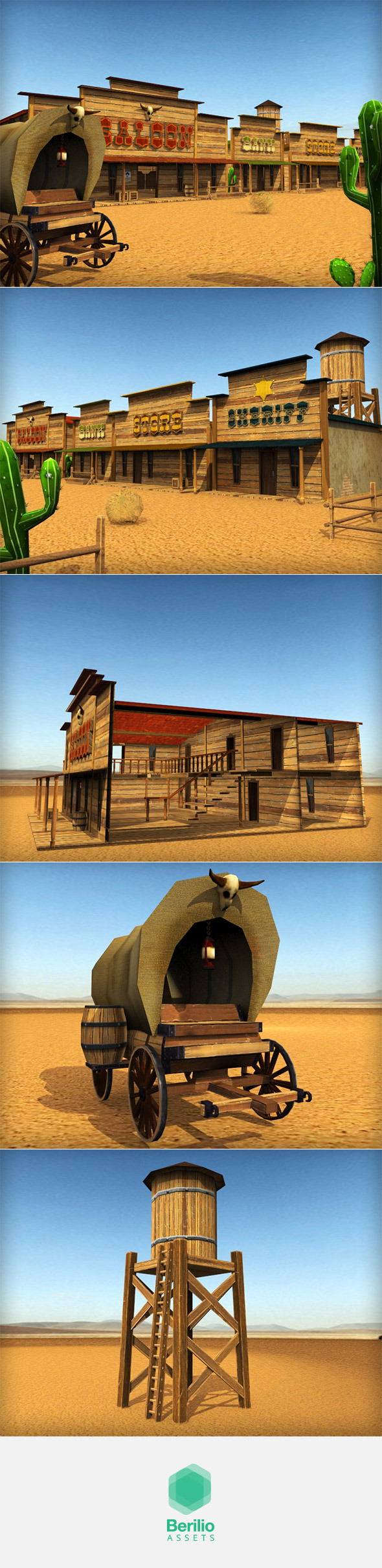 Low Poly Cartoonish Western Pack