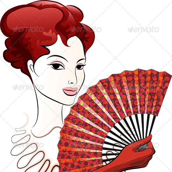 GraphicRiver Woman with Fan 7982142