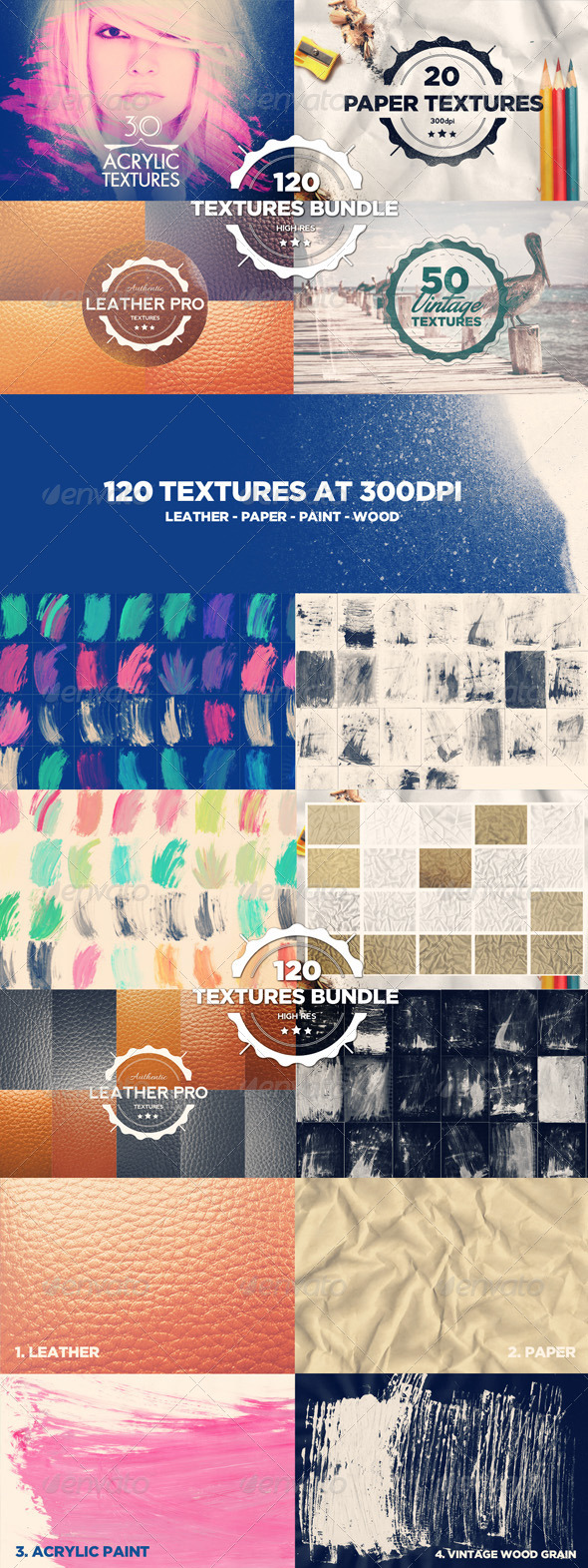 GraphicRiver 120 Textures Bundle 7982199