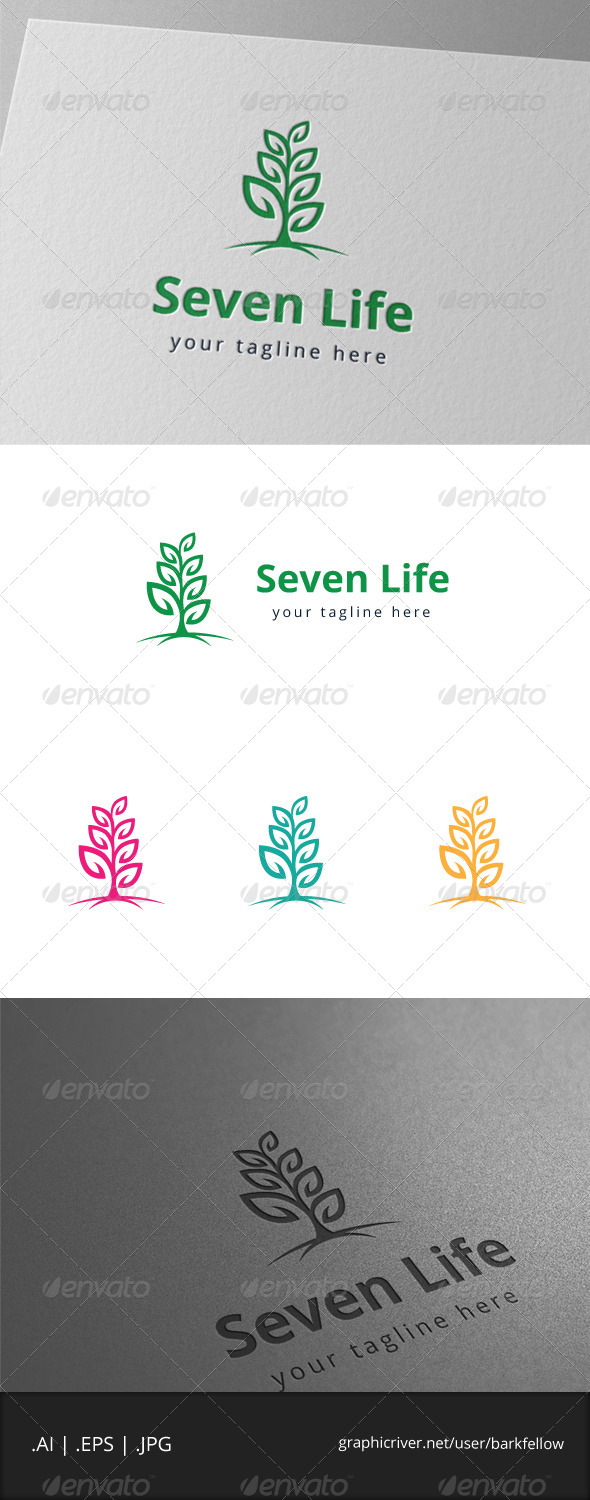 GraphicRiver Tree Seven Leaf Green Logo 7982207