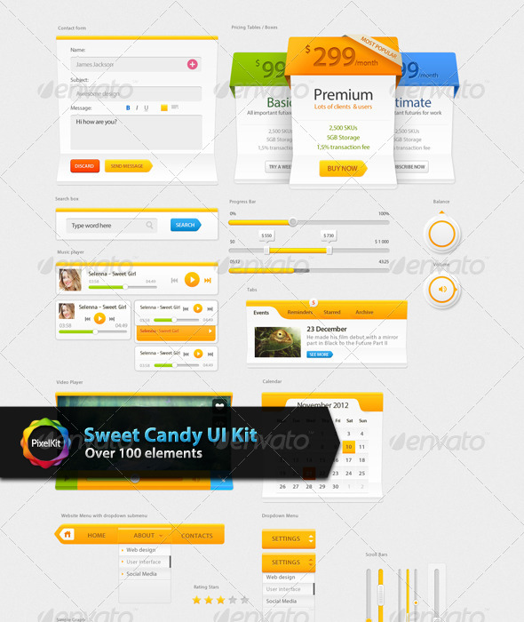 GraphicRiver Sweet Candy UI Kit 7982255