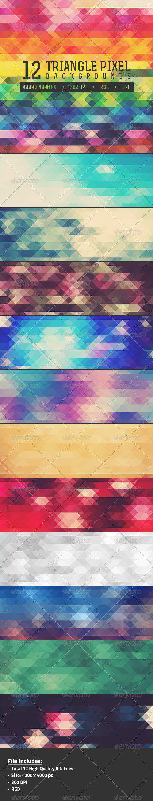 GraphicRiver 12 Triangle Pixel Backgrounds Pack 1 7982598