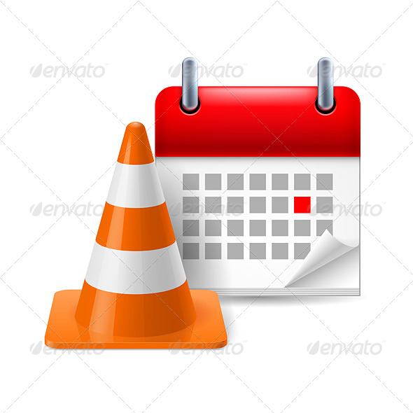 GraphicRiver Traffic Cone and Calendar 7982675