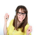Woman dancing with earbuds / headphones listening to music on mp - PhotoDune Item for Sale