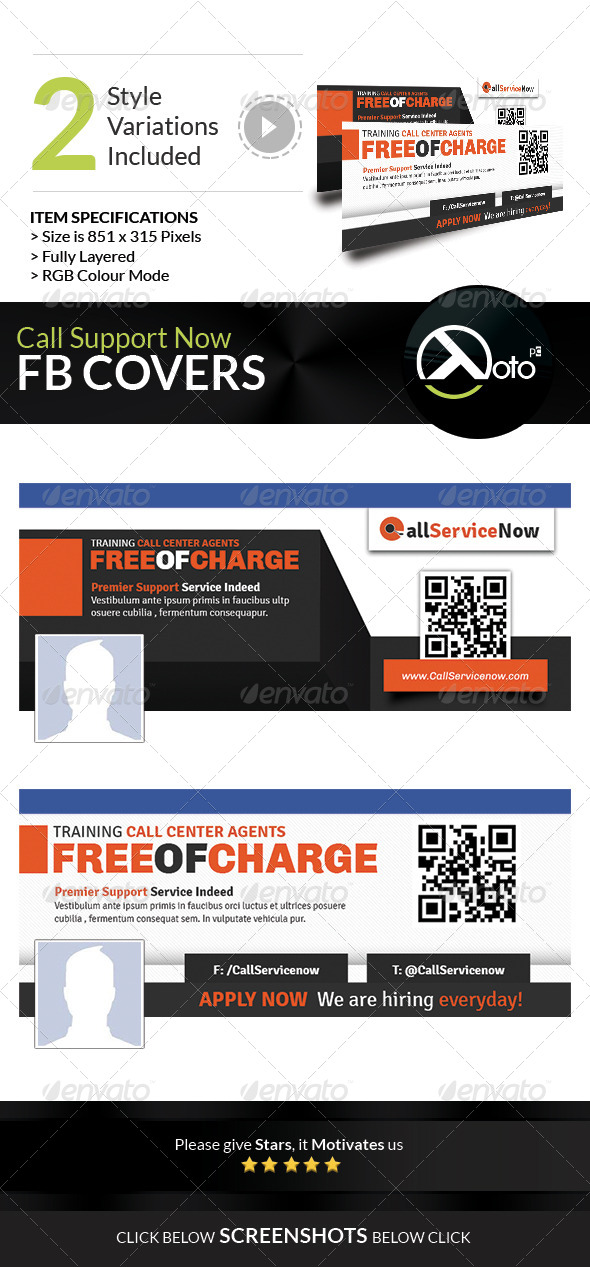 GraphicRiver Call Support Call Center Solutions FB Banners 7983222